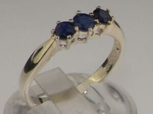 Solid 10ct White Gold Natural Sapphire Womens Trilogy Ring - Sizes J to Z