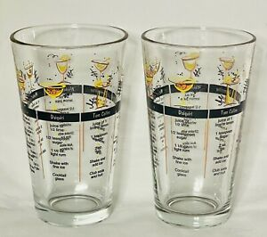 Pair Of Vintage 1960s Libby Barware Glasses With Drink Recipes Mid Century Retro
