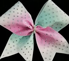 Cheer Bow - PINK Mint Ombre Rhinestone Cheer Bow- Hair Bows