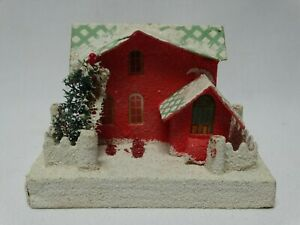 "Vintage Cardboard Putz Red Orange Christmas Village House 4"" h x 5.75"" Japan #10"