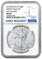 2020 W Burnished Silver Eagle NGC MS69 - Early Releases-  Blue Label