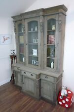 Georgian Style Dresser - Bookcase In Weathered Oak Finish - Display Cabinet