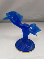 Daum France Horse Crystal Wild Blue Pate de Verre Galloping on Pedestal