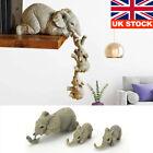 Vintage 3 Mother Elephant Baby Ornaments Handmade Animal Home Decor Figure