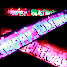 Pink happy Birthday Banner with Flashing Led Lights party decorations free batts