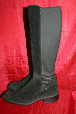 RUSSELL & BROMLEY Iconic 50/50 Long Boots UK8.5 Black Suede Leather & Lycra VGC