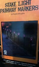 Halloween Stake Lights Purple Pathway Markers 9FT Outside Decor