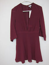Tobi Take It Slow Skater Dress - Womens Medium - Wine - NWT
