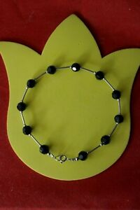"""Elegant Silver Anklet With 11 Onyx Gemstones 8.5 Gr. 10"""" Inches Long In Gift Box"""