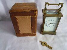 Antiguo francés Richard & Co Carro Reloj c1890 con funda de transporte + llave gwo