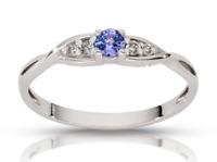 585 Gold Verlobungsring, 14k Gold Ring, Diamant Tansanit Ring, 4 Diamanten Ring