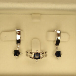 SPECIAL! 14k WHITE GOLD REVERSIBLE DIAMOND AND SAPPHIRE RING AND EARRINGS SET