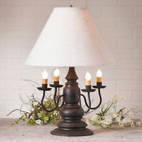 "3-Way COLONIAL TABLE LAMP & 17"" Ivory Linen Shade - Distressed Black Finish USA"
