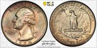 TONED 1964 SILVER WASHINGTON QUARTER DOLLAR 25 CENT COIN GEM TONER PCGS MS66