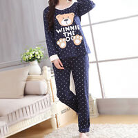 Women Cotton Sleepwear Long Pajamas Sets Character Printing Nightwear Home Suit