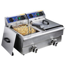 20L Electric Deep Fryer Fat Chip Commercial Dual Tank Stainless Steel w/ Timer