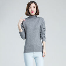 Women Slim Cashmere Solid Sweater Winter Knitted Turtleneck Pullover Warm Jumper