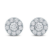 5/8 Carat TW Diamond Halo Earrings in 10K White  Gold