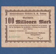 BOCHUM Elektricitätswerk 100 Millionen Mark 1923 III / VF
