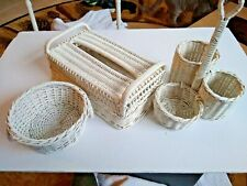 3 Piece White Wicker Tissue Box Cover, Small Basket, 3 Compartment Basket Nice