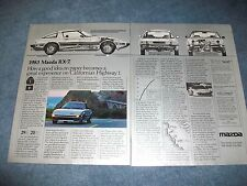 "1983 Mazda RX-7 Vintage 2pg Ad ""...Great Experience on Cal Highway 1"""