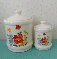 Lot of 2 Vintage Ceramic Floral Cannisters Made in Japan for Woolco Woolworths
