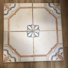"Lot Of 4 Italian Vintage Tile 8"" Square  glazed ceramic porcelain Peach Blue"