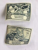 SOUTHERN RHODESIA Universal Postal Union 1874-1949 Unused Stamps 2d and 3d
