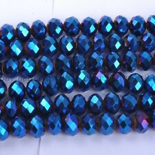 20Pcs Metallic Blue AB2X Quality Czech Crystal Faceted Rondelle Beads 10MM