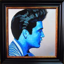 """""""King"""" - Pintura al óleo originales de Elvis en azul frío"""