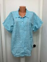 CW Classic woman gingham floral Button Blouse  short sleeves cotton polyester 1X