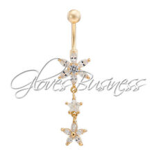 1pc 14G Gold Plated Flower Star Belly Navel Ring Bar Body Jewelry For Cowgirl