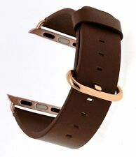 Apple Watch Band 38mm Rose Gold Metal Clasp Genuine Leather Loop Iwatch Brown