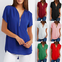 New Womens Summer Short Sleeve Tops Solid V Neck Zipper Loose T-shirt Blouse Tee