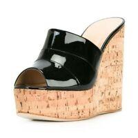 48 49 50 51 52 Damen Sandalen Freizeitkleidung Slipper Keilabsatz Hoher Absatz
