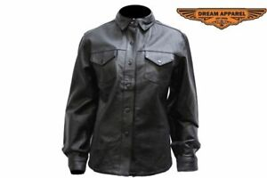 Women's Motorcycle Shirt Style Leather Jacket with Button-snap Front Closure