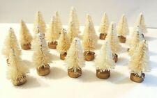Lot of 14 Mini Ivory White Miniature Sisal Bottle Brush Flocked Christmas Trees