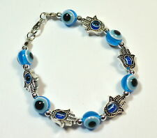 "Evil Eye Hamsa Bracelet Beads Lucky Amulet Blue 7""1/2 clasp closure NEW NWT"