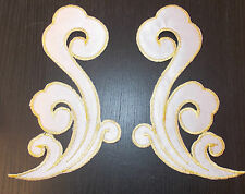 white and gold embroidery hotfix patch lace applique irish dance dress costume