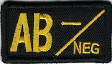Yellow Black Blood Type AB- Negative Patch VELCRO® BRAND Hook Fastener Compatibl