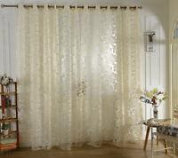 Tenda jacquard floreale con mantovana trasparente con occhiello per soggiorno