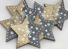 6 GREY WOODEN CHRISTMAS STAR & SNOWFLAKE 45mm DECORATION STICK ON SELF ADHESIVE