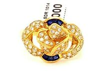 Diamonds Right Hand Cocktail Ring.Size.6.5 18K Yellow Gold Sapphires &