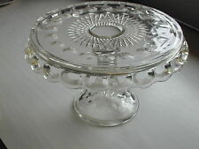 EAPG Glass Pedestal Cake Stand Plate McKee Plymouth  Rum Well Vintage