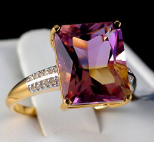 5.82ct Genuine Anahi Ametrine Solitaire with Diamonds 10k Solid Gold Ring Size 7