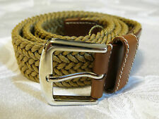 Loro Piana mens belt NEW WT! 80-32 Brown leather tan braided silver buckle ITALY