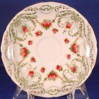 Royal Doulton Bone China Saucer (63699) - Red Roses w/ Green Laurels & Scrolls