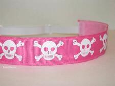 Non slip Headband adjustable no slip Sweaty Sports Hair Bands Pink Skulls