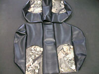 EZ-GO TXT Hunting Golf Cart Vinyl Seat Covers-Front/Rear(Black w/Camo Top)