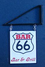 1:12 Scale Bar 66 Pub Sign & Bracket Dolls House Miniature Inn Tavern Accessory